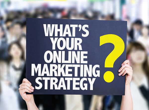 Whats Your Online Marketing Strategy? card with crowd of people on background-2